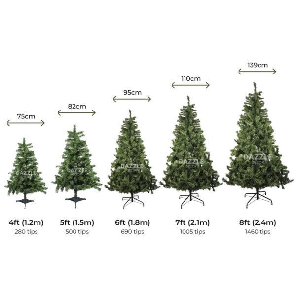 Eira Alpine Christmas Tree Overall Sizes